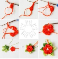 "5 petals cluster flower free pattern with picture tutorial and chart – Artofit Big crochet poppy free pattern step by step – Artofit The difference is in the details easy crochet flowers bows – Artofit maria-cro: "" pattern for the cute flowers :) Crochet Flower Tutorial, Crochet Diy, Crochet Flower Patterns, Crochet Stitches Patterns, Crochet Motif, Irish Crochet, Crochet Crafts, Crochet Flowers, Crochet Designs"