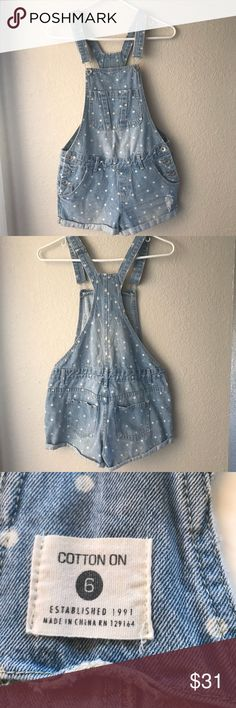 "Cotton On Denim Short Overall Cotton On Denim Short Overall Excellent Condition Light Blue  Size 6  Length 28"" Waist 16""  Thank You for looking and please check out my closet  Offers Welcome Cotton On Shorts"