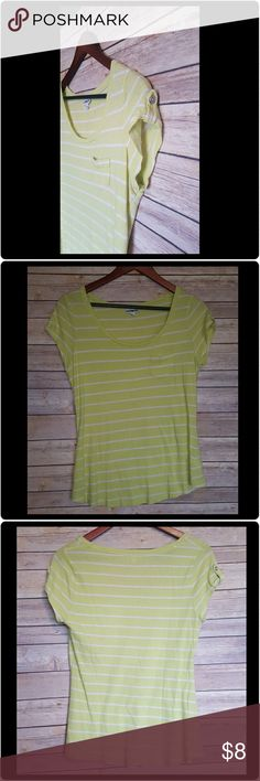 Express Striped Tee Well loved. Pulling from laundering. Small hole pictured in photo 4. Priced accordingly. This a neon-ish, chartreuse-ish shade of yellow with white stripes. Express Tops Tees - Short Sleeve
