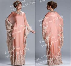 Custom Made Hot Sale Long Chiffon Coral Lace Appliqued Kaftan Evening Dresses Dubai With Long Sleeve JQ3309 $189.00