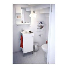 tiny LILLÅNGEN Sink cabinet with 1 door IKEA Can be used as a shelf for a soap dish and toothbrush holder, thanks to the shape of the edge. Wash Basin Cabinet, Cabinet, Ikea, Bath Faucet, Sink Cabinet, Vanity Cabinet, Small Bathroom, Ikea Bathroom, Sink
