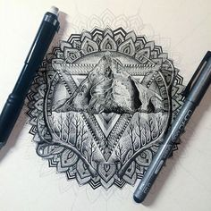 Gorgeous detailed black mandala with antlers, trees, and a mountain incorporated in.