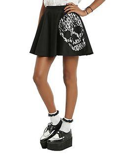 Black Lace Skull Circle Skirt, BLACK