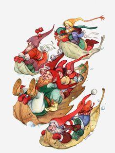 Sliding Spree by David Wenzel ~ Christmas ~ Kringle Hollow ~ elves