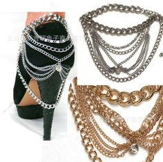 Free shipping old Chain Anklet, Shoes Chain, Draped Layered Heel Shoe Anklet Foot old Chain Body Jewelry //Price: $US $7.00 & FREE Shipping //     #shoes