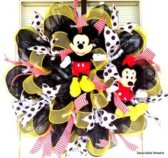 Mickey Mouse and Minnie Mouse Wreath by BamaBelleWreaths on Etsy Mickey Mouse Wreath, Mickey Mouse Crafts, Disney Wreath, Mickey Mouse And Friends, Mickey Minnie Mouse, Disney Mickey, Deco Mesh Garland, Deco Mesh Wreaths, Mickey Mouse Clubhouse Birthday