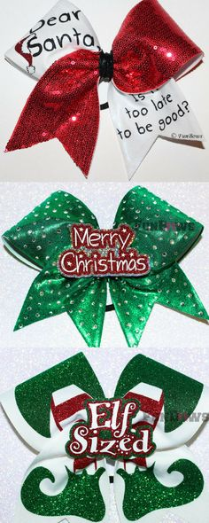 Cutest Christmas cheerleading bows. Secret Santa cheer gifts. Cheer coach. Merry Christmas! Elf bow! Naughty or nice! Cheerleader present. #cheerleading #christmas #ad