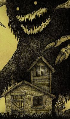 Post-It Monstre By John Kenn Mortensen. - Maybe you remember reading about John Kenn Mortensen's Monsters On Post-It Notes before on this b - Monster Drawing, Monster Art, Arte Horror, Horror Art, Don Kenn, Arte Obscura, Creepy Art, Oeuvre D'art, Dark Art