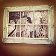 """Really cool and rustic way to have a picture and an old window frame! Love this idea! Gives the allusion that there is a window and depending on the picture would depend on whats happening on the """"other side"""" of the window."""