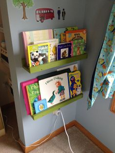Children's Book Shelf/ledge by TriNationsCedar on Etsy, $18.00 - I like this better for Declan's books. Made of pine, Chris should be able to make these for the wall with the tree. Click onto the Etsy site and they show an example with three different sizes staggered that is pretty cool.