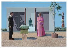 """David Hockney. """"American Collectors (Fred & Marcia Weisman)"""" 1968 Acrílico en lienzo. 84 x 120″ © David Hockney. Crédito de foto: Richard Schmidt. Colleción de arte del Instituto de Chicago. TENMAG Web October 2016"""
