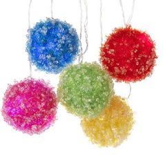 """Gus' Playoom for Christmas...RAZ Lighted Frosted Ball Garland  Multicolored Made of Wire/Tinsel Measures 105"""" Lighted Length 68"""" with 3.5"""" Balls Requires 3 AA Batteries LED Indoor Use Only Color Changing Lights"""