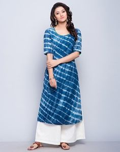 Cotton Mull FabricTie-DyeScoop NeckElbow SleevesHand Wash Separately in Cold Water Ethnic Outfits, Indian Outfits, Fashion Outfits, Dress Indian Style, Indian Dresses, Indian Attire, Indian Wear, Shibori, Churidar Designs