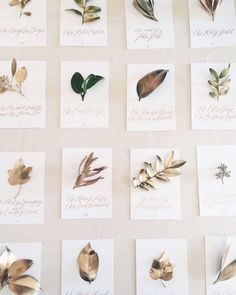 Unique gold leaf escort card wall // calligraphy and illustration and design by Written Word Calligraphy // love the details on this one and spray painted leaves!