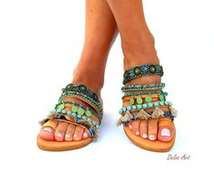 Sesami, Colorful Sandals, slip on  sandals, Greek Sandals, Summer shoes, Women's Shoes,  hippie leather shoes, boho sandals, oriental sandal