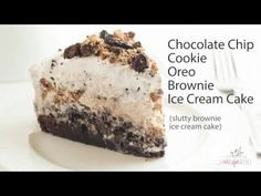 The ULTIMATE Ice Cream Cake! A brownie base topped with a no churn Oreo and Chocolate chip cookie ice cream. Inspired by Slutty Brownies! Brownie Ice Cream, Ice Cream Treats, Ice Cream Cookies, Ice Cream Desserts, Frozen Desserts, Cream Cake, Best Cookie Recipes, Cake Recipes, Yummy Recipes