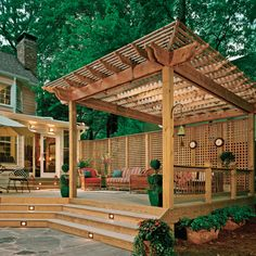 maybe a little excessive, but nice tall pergola; i like the lattice; would give you privacy from the neighbor's yard...