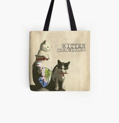 Cotton Tote Bags, Reusable Tote Bags, Fashion Room, Poplin Fabric, Top Artists, Vintage Designs, Shopping Bag, Shoulder Strap, Kitten