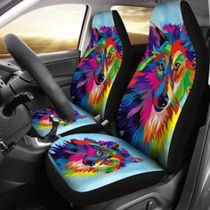 Colorful Wolf Car Seat Covers are custom-made-to-order. Our best car seat covers are handcrafte Easy Returns. Custom Car Seat Covers, Best Car Seat Covers, Best Car Seats, Car Seat Cover Sets, Car Covers, Car Seat Protector, Gif Disney, Car Buying Tips, Wolf Design