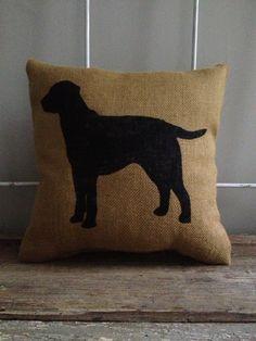 Burlap+Pillow++Labrador+Burlap+Pillow++Dog+by+TwoPeachesDesign,+$29.00
