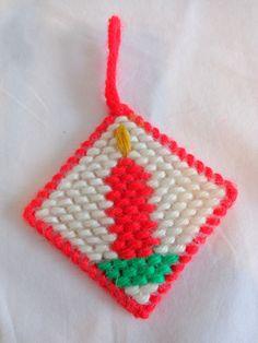 "RED CANDLE Christmas Ornament 3"" Handmade Plastic Canvas #Handmade"