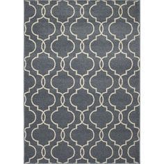 Manhattan Rectangular Blue Geometric Woven Area Rug (Common: 5-ft x 7-ft; Actual: 63-in x 87-in)