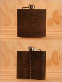 You'll never get your drinks mixed up with a handmade leather monogram flask. This leather and stainless steel flask comes with your choice of up to five letters. This makes a wonderful gift for an anniversary (leather is the third anniversary gift), wedding, or bridesmaids/groomsmen. | Made on Hatch.co
