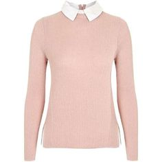 TopShop Petite Rib Hybrid Jumper ($40) ❤ liked on Polyvore featuring tops, sweaters, topshop tops, long sleeve tops, pink top, collared sweater and topshop jumpers