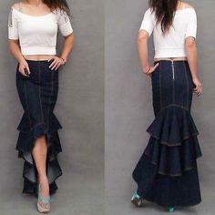 Plus Size XL Fashion Denim Fish Tail Skirt Layers Of Ruffles Mermaid Denim Skirt