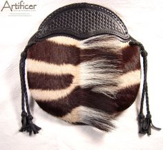 Zebra Hide Sporran with Tooled Leather Cantle.