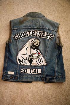 Ghostriders MC - So Cal - Vintage Motorcycle Club Vest Biker Clubs, Motorcycle Clubs, Biker Vest, Motorcycle Jacket, Bike Gang, Biker Patches, Biker Leather, Denim Cutoffs, Vintage Denim