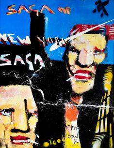Saga of New York by Herman Brood Rechterdeel  paneel 1 lucht gebouw vliegtuig tekst paneel 2 kop paneel 3 lijf    grafisch
