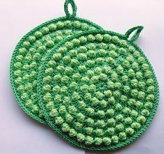 Ravelry: lightbluerose's potholders with bobbles greens