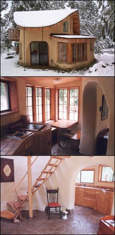 Tiny cob house. I dream of living in a small space someday. (Although, I would decorate differently.)
