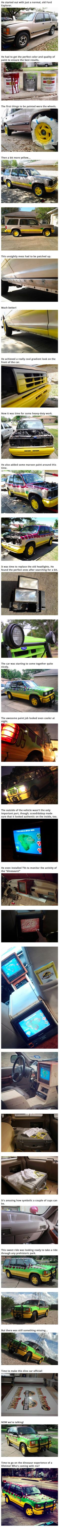 When it comes to vehicle makeovers, Imgur user skoodidabop might take the cake for the best movie replica ever. He took a 1993 Ford Explorer and spent a year working turning it into a Jurassic Park tour truck. He claims it's still not done yet, but seeing it even now is almost too impressive for words!