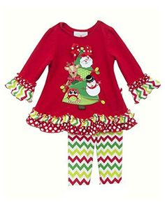 Rare Editions Baby Girls Red CHRISTMAS TREE Chevron Leggings 2pc Outfit 12 Months * Click image to review more details.
