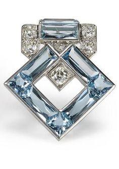 An art deco aquamarine and diamond brooch Cartier