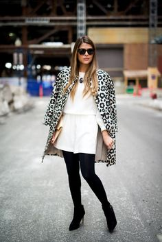 White Romper and Leopard Print Coat | The Girl from Panama