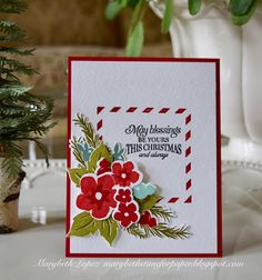 Mixed Floral Cluster for Christmas Card. Papertrey Ink  Marybeth Lopez