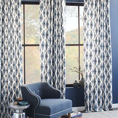 Cotton Canvas Bazaar Curtain – Belgium Blue - go bold on curtains, neutral rug (a seagrass looking, but made of wool) and a gray/blue seat upholstery with a few accessories in a pop of a different color (orange perhaps)