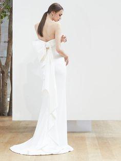 Strapless Sheath Wedding Dress with Back Bow Detail | Oscar de la Renta Spring 2018