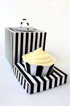 Black and White Stripe Cupcake printable box carrier holder
