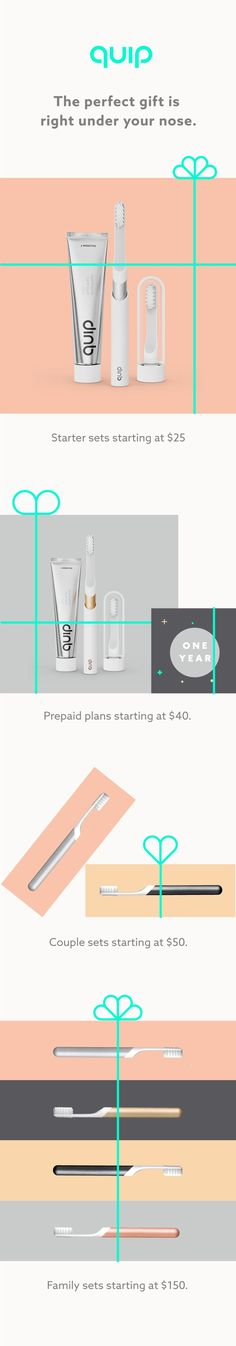 quip electric toothbrush starting at $25. Free shipping in-time for the holidays, covered for the life of refill plan.