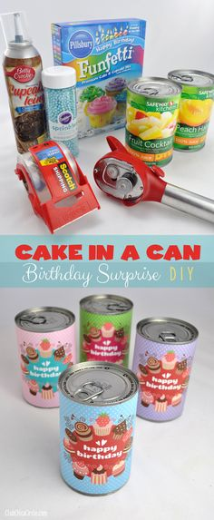 Oh My Goodness I have to make these!!!!  Cake in a Can Birthday Surprise DIY