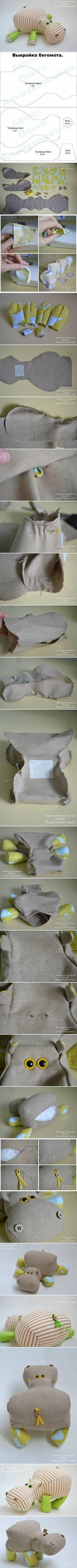 DIY Stuffed Animal Hippo - FREE Sewing Pattern and Tutorial /el hipopotamo mas cuco del mundo