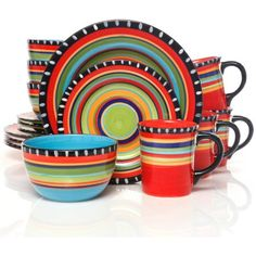 Gibson Home Pueblo Springs Handpainted 16-Piece Dinnerware Set, Multi-Color Mexican food dishes