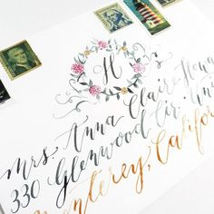 Learn how to make this floral monogrammed envelope art today on Facebook.com/thepostmansknock! I just posted a mini-tutorial there. :) It's easier to make than you think: a 10-minute project! #art #envelope #envelopeart #floral #flowers #moderncalligraphy #modernscript #monogram #calligraphy #script #thepostmansknock #watercolor #watercolorcalligraphy #postagestamps #arttutorial #tutorial #diy #drawing #illustration