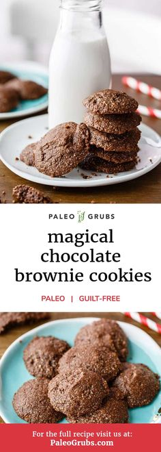 If chocolate brownies are your weakness, then you absolutely have to check out this recipe that makes paleo-approved chocolate brownie cookies. It uses cacao powder for the chocolate flavoring which ends up making these brownies delicious AND nutritious w Paleo Cookies, Cake Mix Cookies, Paleo Treats, Cookie Recipes, Paleo Recipes, Brownie Recipes, Free Recipes, Chocolate Brownie Cookie Recipe, Chocolate Flavors