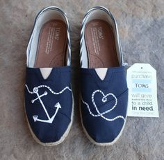 Sweet hand painted TOMS shoes in navy with an anchor and heart design!