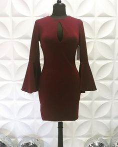 Jewel Neck Cutout Satin Burgundy Tight Short Homecoming Dress Bell Sleeve Dress, Bell Sleeves, Shorts With Tights, Burgundy, Satin, Jewels, Formal Dresses, Dresses For Formal, Jewerly